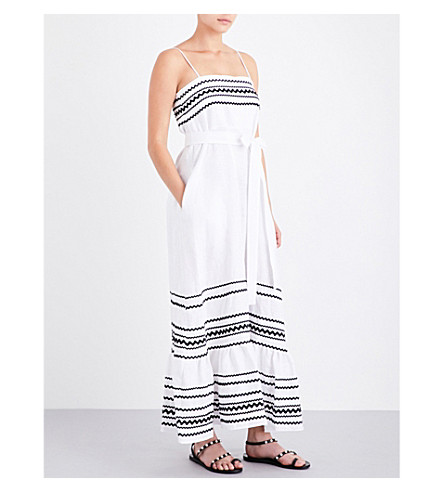 LISA MARIE FERNANDEZ Ric Rac linen dress (White+linen+w+black+ric