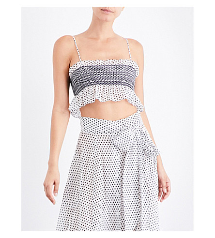 LISA MARIE FERNANDEZ Selena smocked cotton-blend cropped top (White+cot+w+black+polka