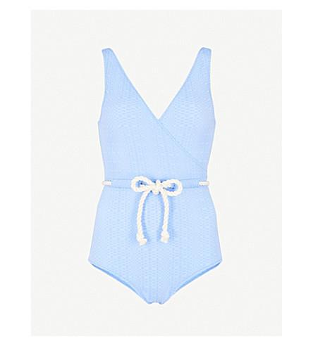 LISA MARIE FERNANDEZ Yasmin drawstring swimsuit (Cornflower+seersucker