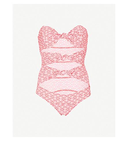 LISA MARIE FERNANDEZ Triple Poppy swimsuit (Red+two+tone