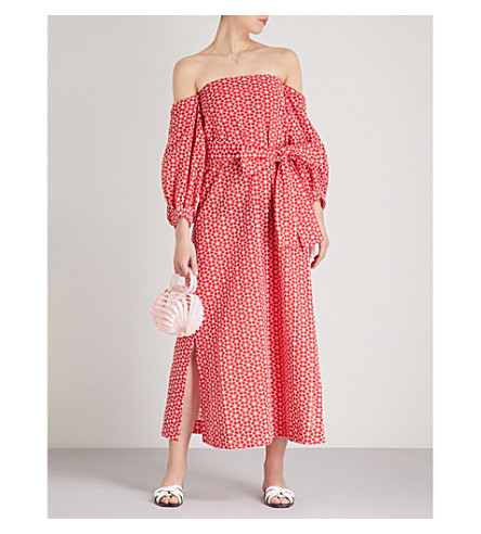 LISA MARIE FERNANDEZ Rosie off-the-shoulder floral-embroidered cotton maxi dress (Tomato+cream+daisy