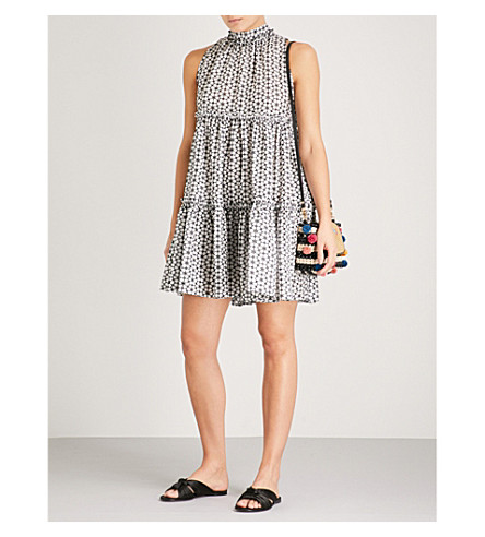 LISA MARIE FERNANDEZ Erica floral-embroidered cotton dress (White+black+daisy