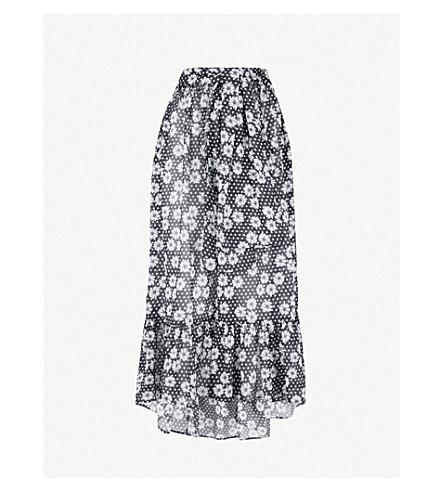 LISA MARIE FERNANDEZ Nicole cotton maxi skirt (Black daisies and dots