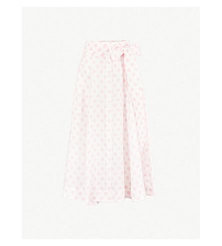 LISA MARIE FERNANDEZ Polka-dot linen skirt (White+pink