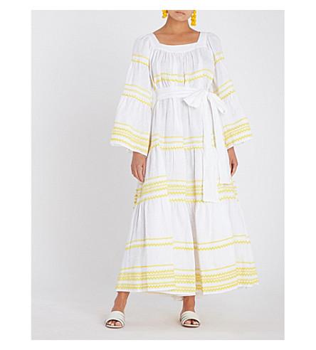 LISA MARIE FERNANDEZ Ric Rac embroidered linen midi dress (Wht w. yellow ric rac