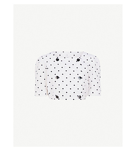 LISA MARIE FERNANDEZ Diana polka dot-embroidered linen top (White+black