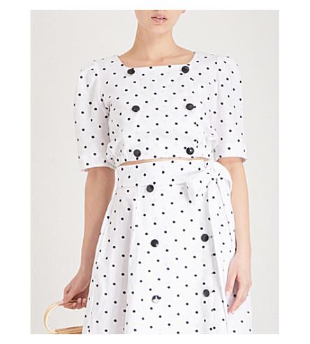 LISA MARIE FERNANDEZ Diana polka dot-embroidered linen top (White/black