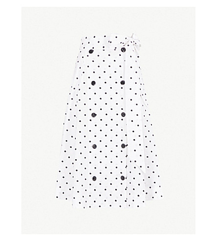 LISA MARIE FERNANDEZ Diana polka dot-embroidered linen skirt (White+linen+w/+black