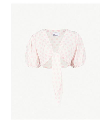 LISA MARIE FERNANDEZ Tie-front polka dot linen blouse (White pink
