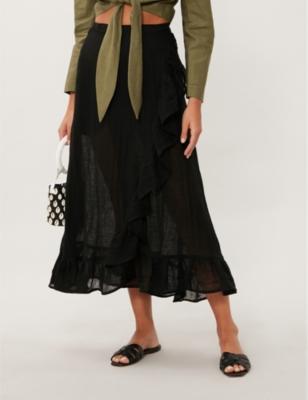 Ruffle linen-blend wrap skirt