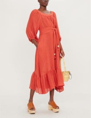 Laure long-sleeved linen-blend jumpsuit