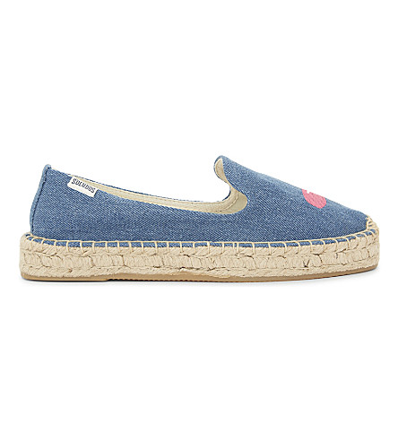SOLUDOS Embroidered denim espadrilles (Medium+denim