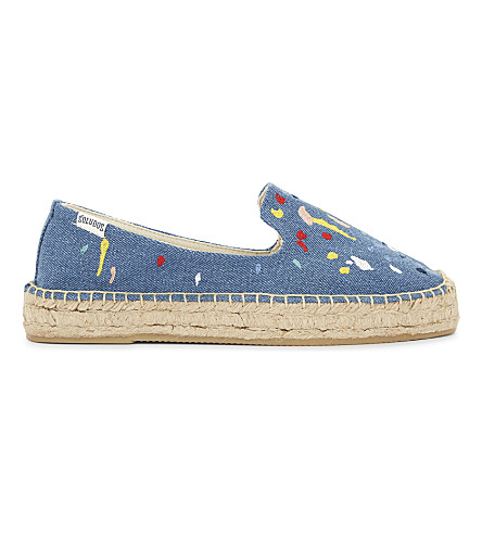 SOLUDOS Paint splatter espadrilles (Medium+denim