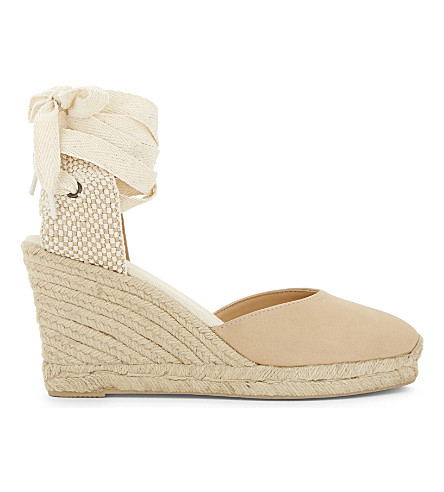 SOLUDOS Leather tall wedge sandals (Nude+251