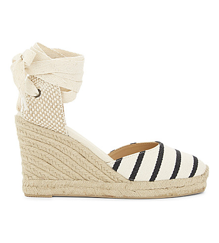 SOLUDOS Striped espadrille wedge sandals (Black+natural+004