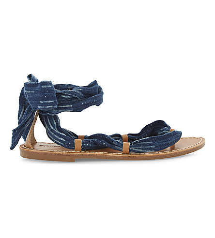 SOLUDOS Leather ankle wrap sandals (Indigo