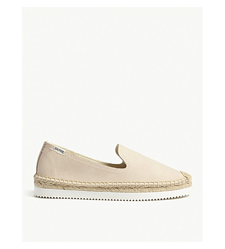 SOLUDOS Leather platform espadrilles (Bisque