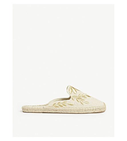 SOLUDOS 金属花卉 espadrille 穆勒鞋 (砂/金属