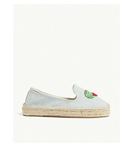 SOLUDOS Watermelon espadrille smoking slippers (Chambray