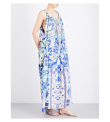 CAMILLA Porcelain Paradise silk-georgette maxi dress (Porcelain