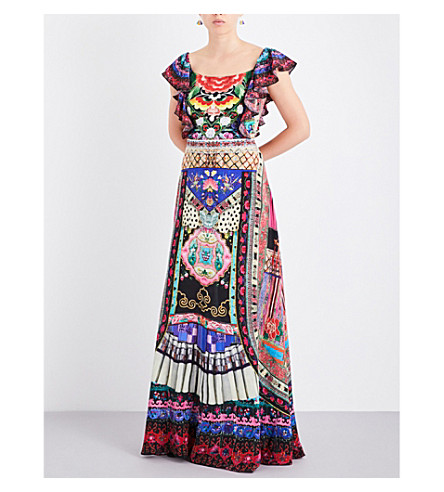 CAMILLA Decorative-print silk-georgette maxi dress (About+a+girl