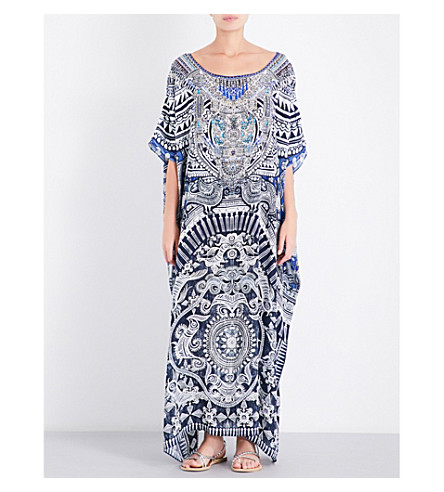 CAMILLA Tribal-print silk-georgette kaftan (Small+town+hero