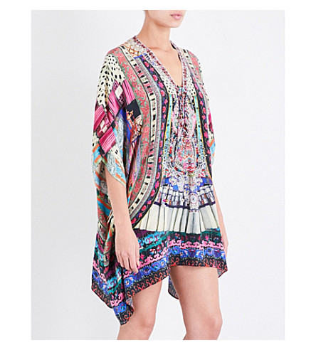 CAMILLA Lace-up silk-crepe kaftan (About+a+girl
