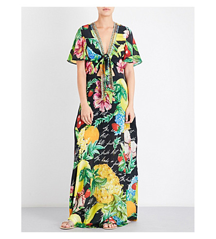 CAMILLA Tie-front silk-georgette maxi dress (Call+me+carmen