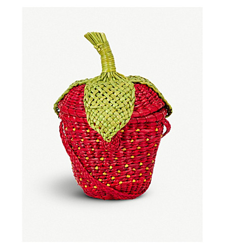 PITUSA Strawberry straw cross-body bag (Strawb
