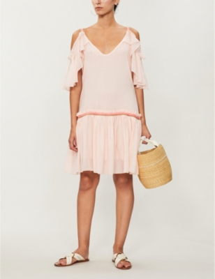 Camille cold-shoulder cotton-voile dress