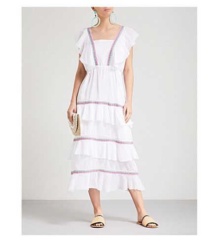 PITUSA Eve tiered cotton midi dress