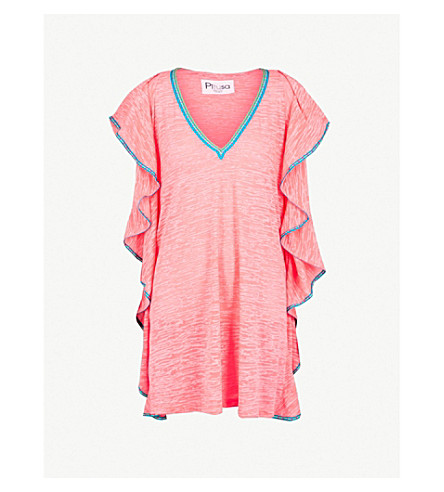 PITUSA Flare contrast-trim cotton-blend dress (Hot+pink