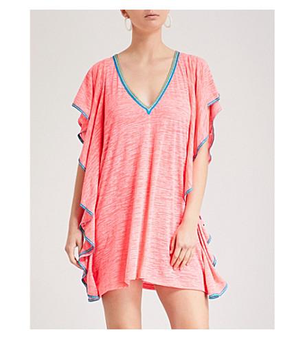 PITUSA FLARE 对比修剪棉混纺连衣裙 (热 + 粉红色