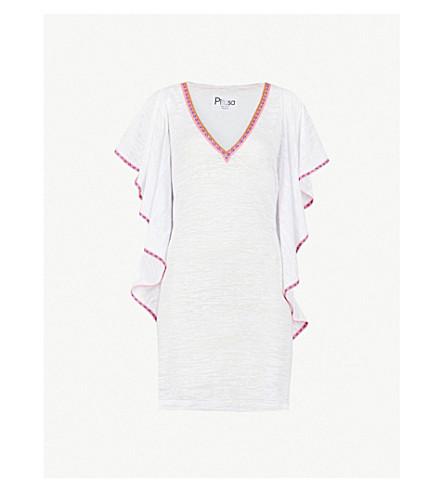 PITUSA Flare cotton-blend mini dress (White
