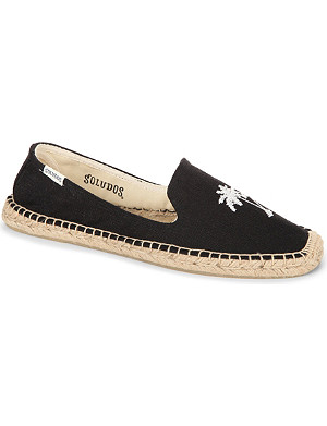 SOLUDOS Palm tree embroidered smoking slipper espadrilles