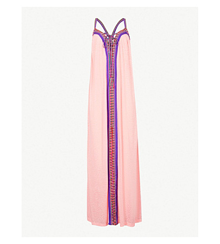 PITUSA Goddess cotton-blend maxi dress (Salmon