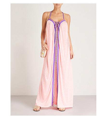 PITUSA Goddess cotton-blend maxi dress (Salmon
