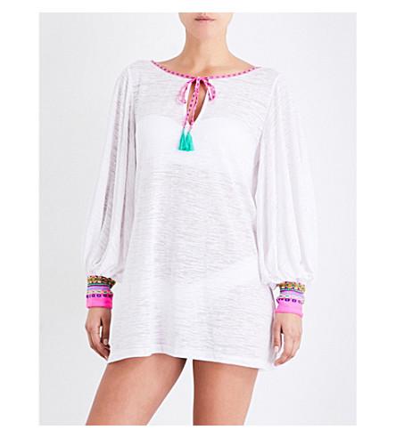 PITUSA Inca cotton-blend dress (White