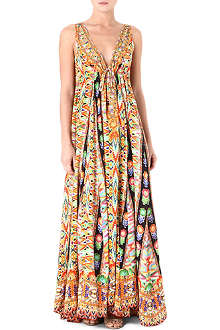 CAMILLA Drawstring silk maxi dress