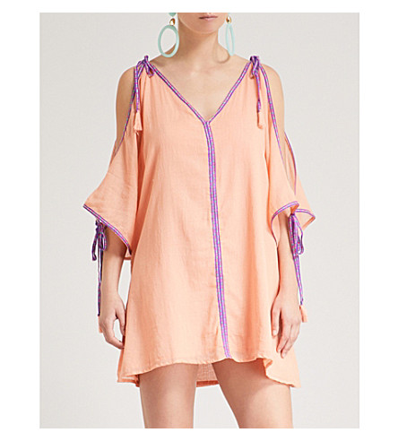 PITUSA 迷你奥斯曼对比修剪棉礼服 (苍白 + 橙色