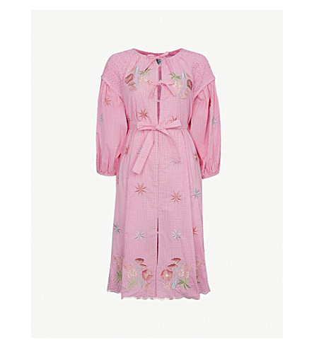 INNIKA CHOO Floral-embroidered cotton shirt dress (Pink