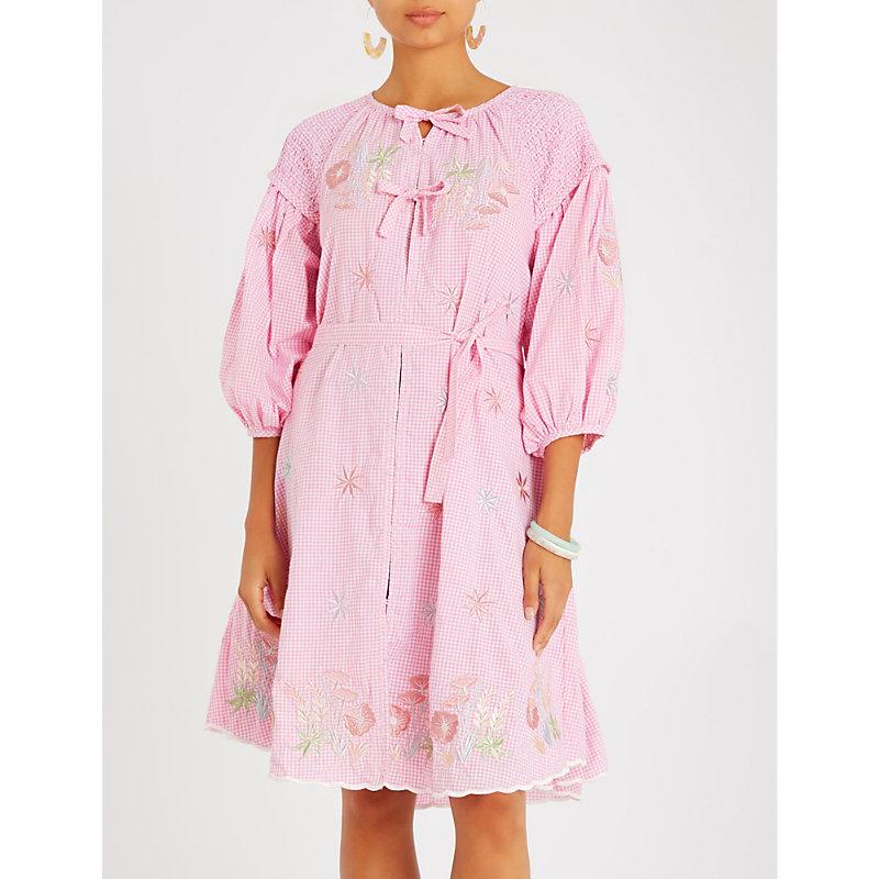 INNIKA CHOO Floral-embroidered cotton shirt dress