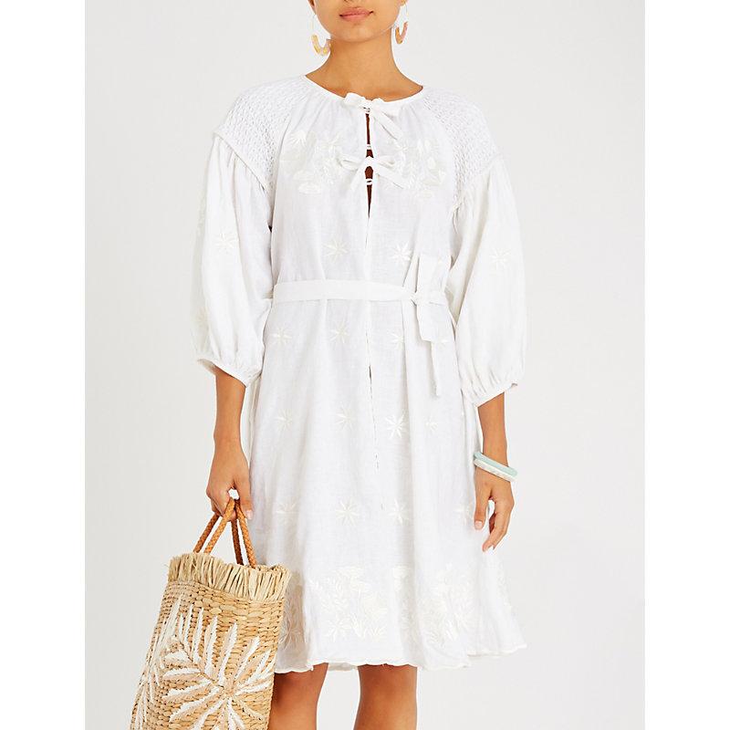 INNIKA CHOO Floral-embroidered linen dress