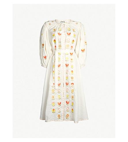 INNIKA CHOO Embroidered linen midi dress (White