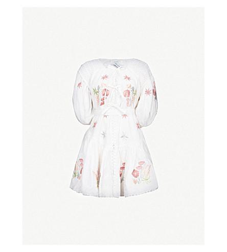 INNIKA CHOO Frilled floral-embroidered linen mini dress (White