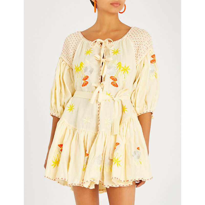 INNIKA CHOO Frilled floral-embroidered linen mini dress