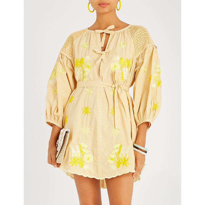 INNIKA CHOO Frilled floral-embroidered cotton mini dress
