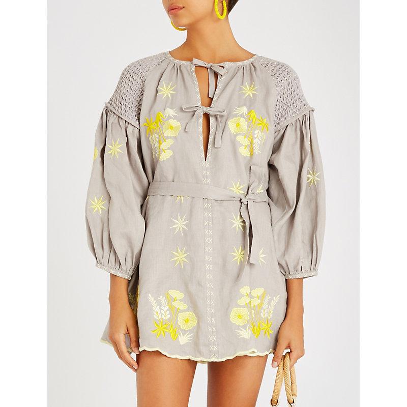 INNIKA CHOO Floral-embroidered linen mini dress