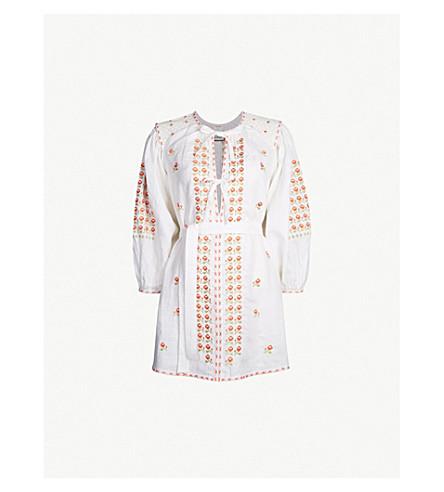 INNIKA CHOO Embroidered linen mini dress (White