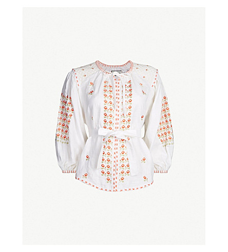 INNIKA CHOO Embroidered linen smock top (White